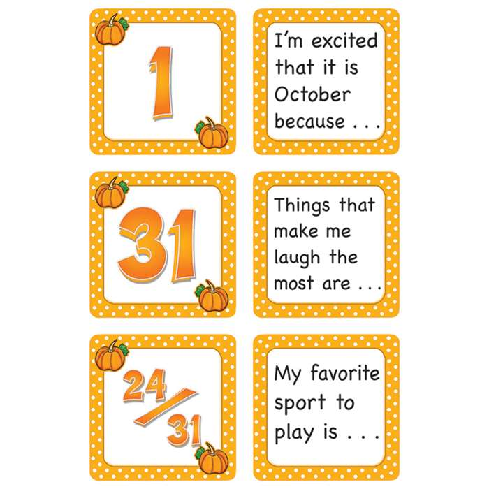 October Polka Dots Calendar Days Story Starters By Teacher Created Resources