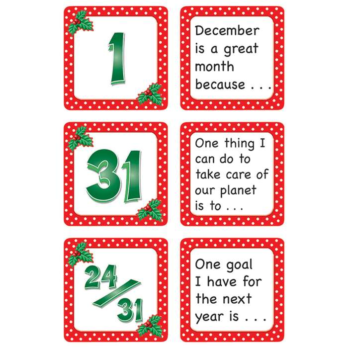 December Polka Dots Calendar Days Story Starters By Teacher Created Resources