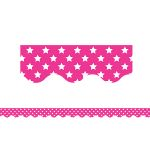 Pink With White Stars Scalloped Border Trim, TCR5091