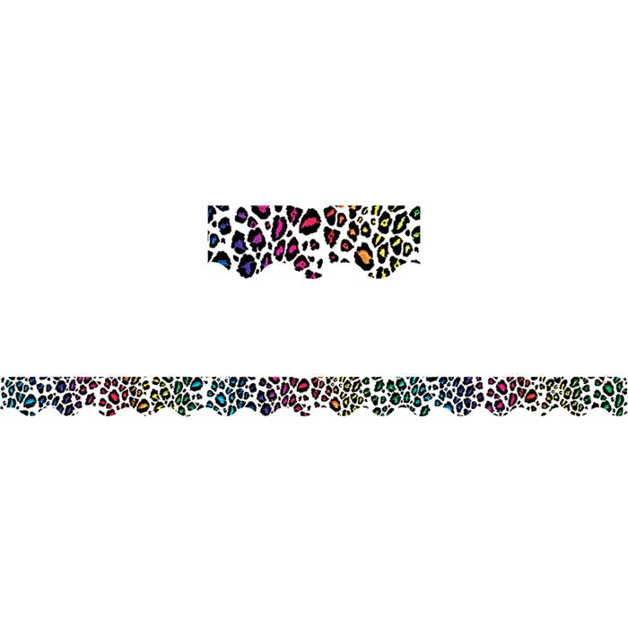 Leopard Rainbow Print Scalloped Border Trim By Teacher Created Resources