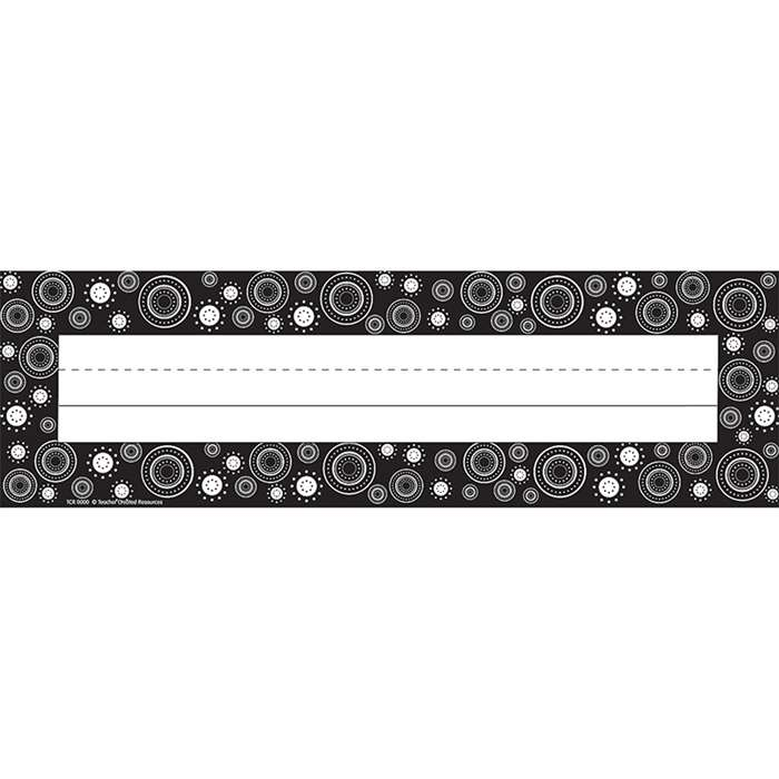 Black White Crazy Circles Flat Name Plates By Teacher Created Resources