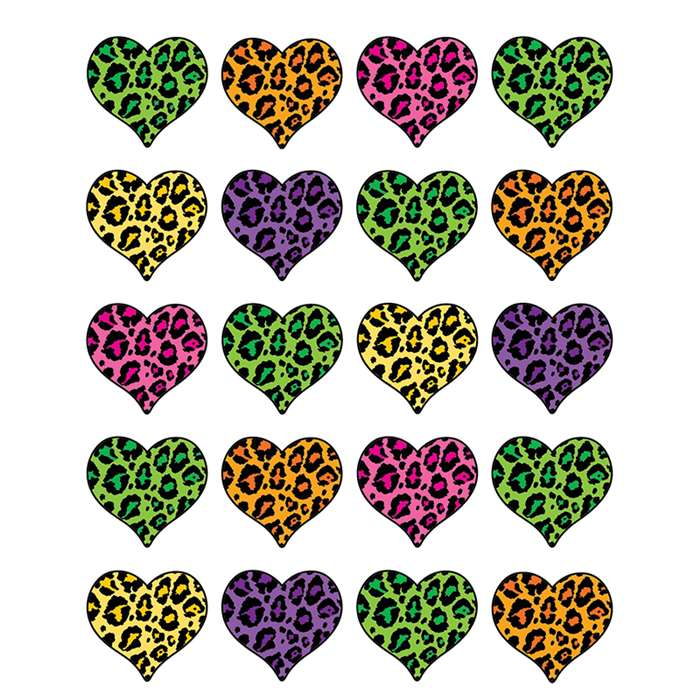 Leopard Print Heart Stickers By Teacher Created Resources