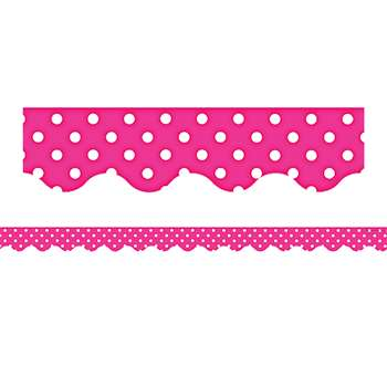 Hot Pink Polka Dots Scalloped Border Trim By Teacher Created Resources