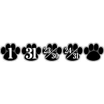 Calendar Days Black Paw Prints By Teacher Created Resources