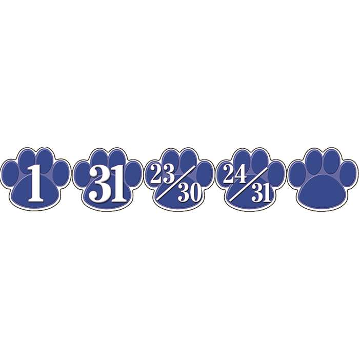 Calendar Days Blue Paw Prints By Teacher Created Resources