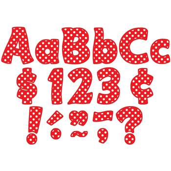 Red Polka Dots Funtastic Font 4In Letters Combo Pack By Teacher Created Resources