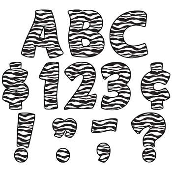 Zebra Print Funtastic Font 4In Letters Uppercase Pack By Teacher Created Resources