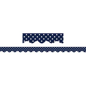 Shop Navy Polka Dots Scalloped Border Trim - Tcr5432 By Teacher Created Resources