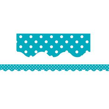 Teal Mini Polka Dots Scalloped Border Trim, TCR5494