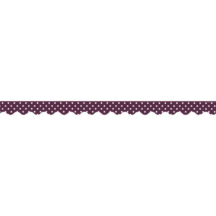 Eggplant Mini Polka Dots Scalloped Border Trim, TCR5496