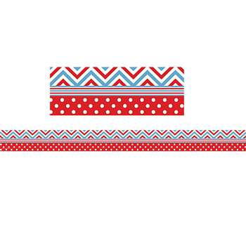 Shop Red & Blue Chevrons & Dots Straight Border Trim - Tcr5523 By Teacher Created Resources