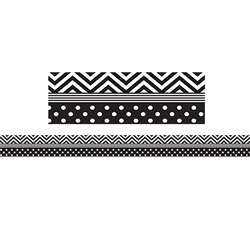 Shop Black & White Chevron And Dots Trim Straight Border - Tcr5543 By Teacher Created Resources