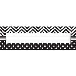 Shop B&W Chevron And Dots Name Plates - Tcr5549 By Teacher Created Resources