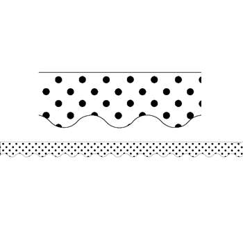 Black Polka Dots On White Scalloped Border Trim, TCR5593