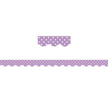 Orchid Polka Dots Scalloped Border Trim, TCR5597