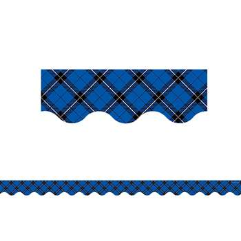 Blue Plaid Scalloped Border Trim, TCR5659