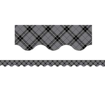 Gray Plaid Scalloped Border Trim, TCR5660