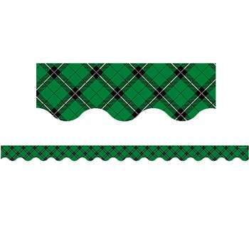 Green Plaid Scalloped Border Trim, TCR5661