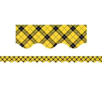 Yellow Plaid Scalloped Border Trim, TCR5662