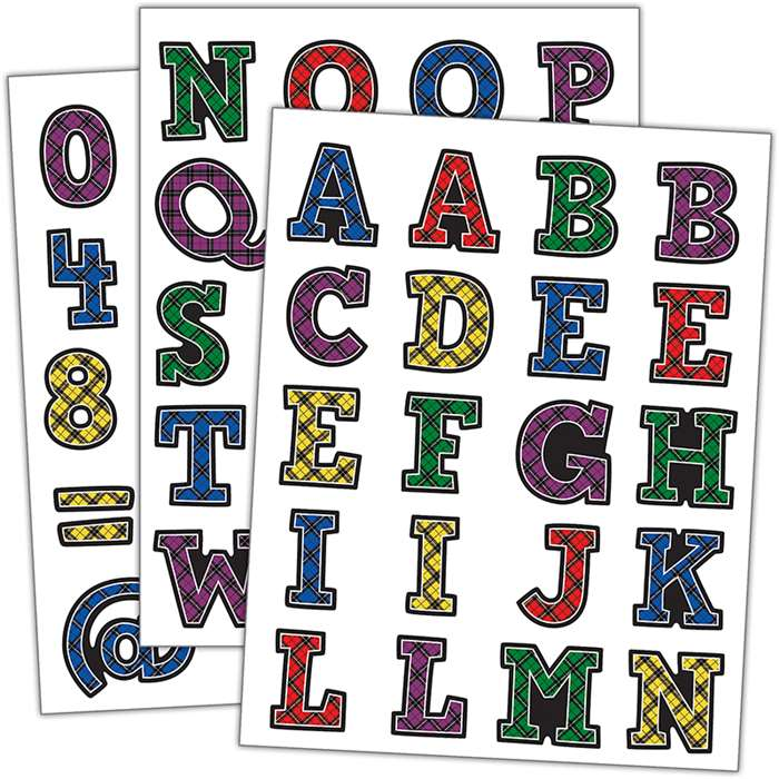 Plaid Alphabet Stickers, TCR5702