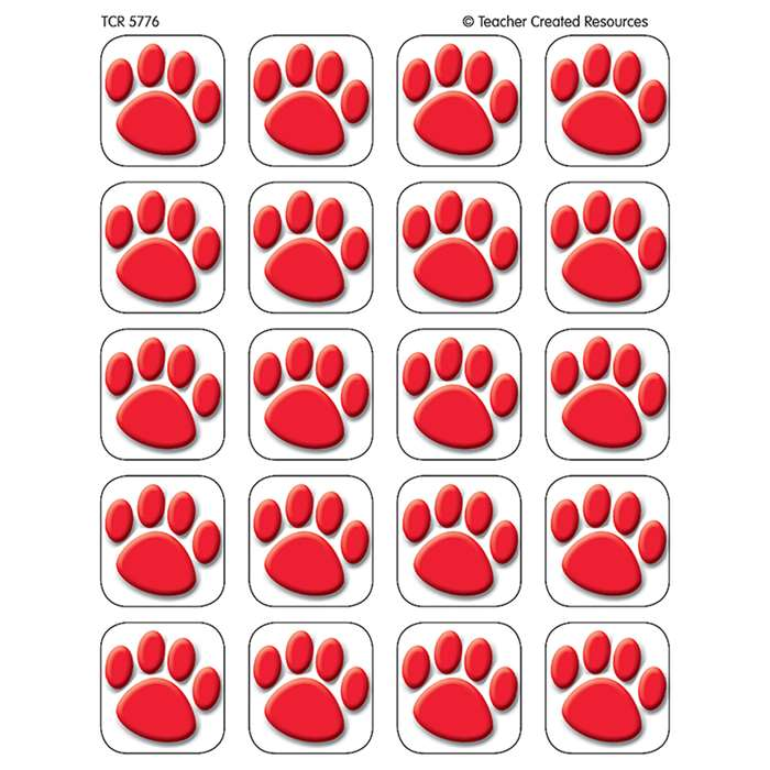 Stickers Red Paw Prints By Teacher Created Resources