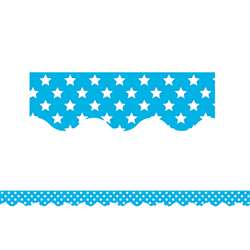 Aqua With White Stars Scalloped Border Trim, TCR5810