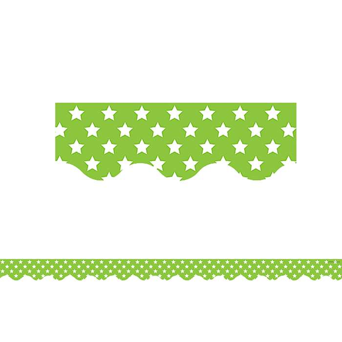 Lime With White Stars Scalloped Border Trim, TCR5811