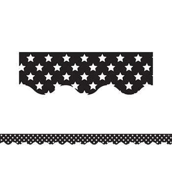 Black With White Stars Scalloped Border Trim, TCR5812