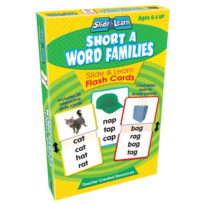 Vowels Short A Word Families Slide & Learn Flash Cards By Teacher Created Resources
