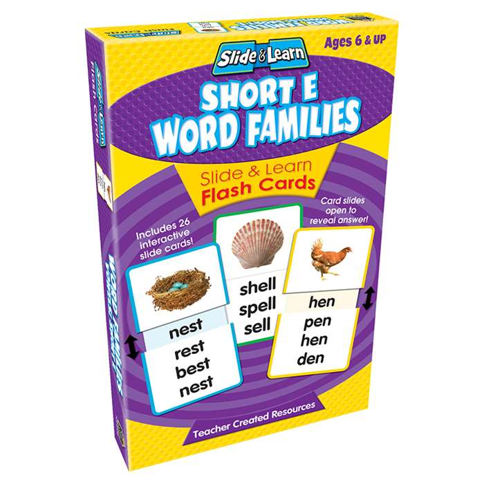 Vowels Short E Word Families Slide & Learn Flash Cards By Teacher Created Resources