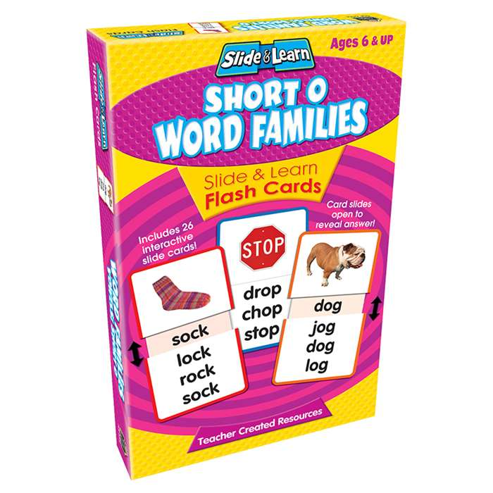 Vowels Short O Word Families Slide & Learn Flash Cards By Teacher Created Resources