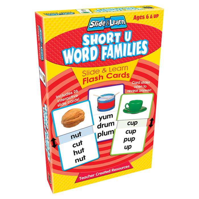 Vowels Short U Word Families Slide & Learn Flash Cards By Teacher Created Resources