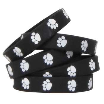 Black W White Paw Prints Wristbands By Teacher Created Resources
