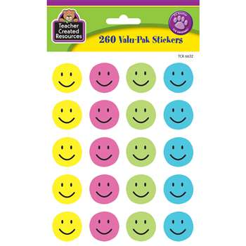 Happy Face Valu-Pak Stickers By Teacher Created Resources