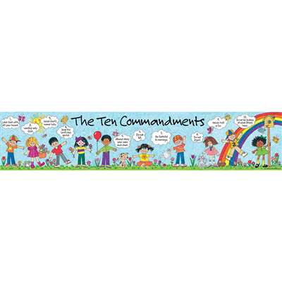 Childrens Ten Commandments Banner 8 X 39 Vertical By Teacher Created Resources