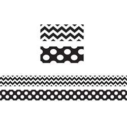 Black & White Zig Zag Double Sided Border, TCR73174
