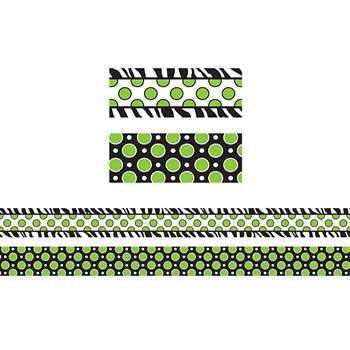 Zebra Green Dot Double Sided Borders, TCR73179