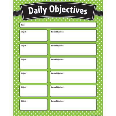 Lime Polka Dots Daily Objectives Chart, TCR7555