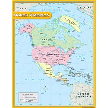 North America Map Chart 17X22 By Teacher Created Resources
