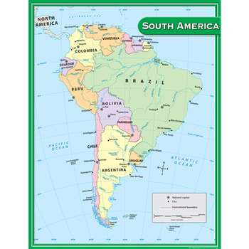 South America Map Chart 17X22 By Teacher Created Resources