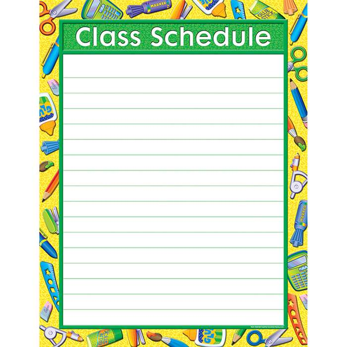 Tools For School Class Schedule Chart By Teacher Created Resources