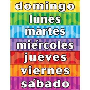 Days Of The Week Spanish Chart By Teacher Created Resources