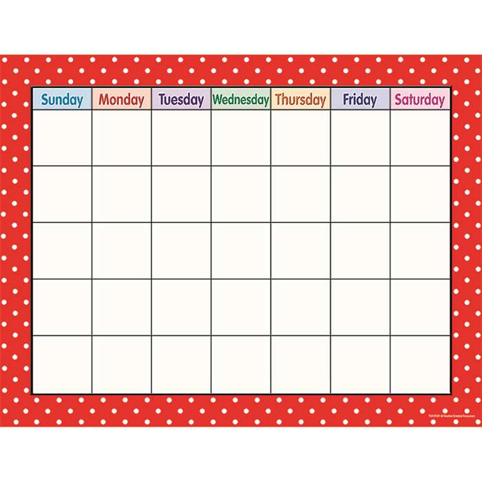 Red Polka Dots Calendar Chart By Teacher Created Resources