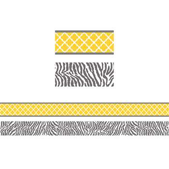 Wild Moroccan Lemon & Gray Double Sided Border, TCR77094