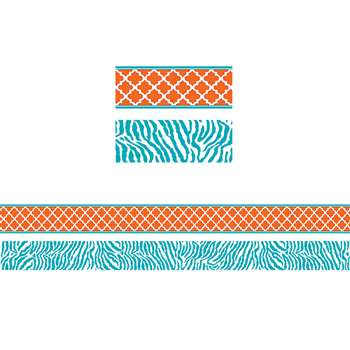 Wild Moroccan Orange & Teal Double Sided Border, TCR77097