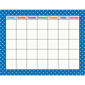Blue Polka Dots Calendar Chart By Teacher Created Resources