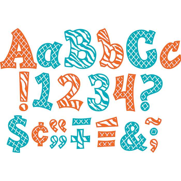 "Wild Moroccan 5"" Orange & Teal Sassy Fonts, TCR77119"