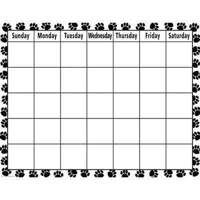 Black & While Paw Prints Calendar Chart By Teacher Created Resources