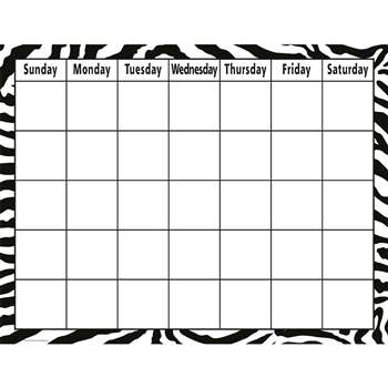 Zebra Calendar Chart By Teacher Created Resources