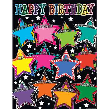 Fancy Stars Happy Birthday Chart, TCR7754